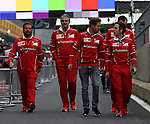 13.07.2017, Silverstone Circuit, Silverstone, FORMULA 1 BRITISH GRAND PRIX 2017, 13.07. - 16.07.2017<br /> , im Bild<br /> Sebastian Vettel (GER#5), Scuderia Ferrari geht mit Maurizio Arrivabene (Scuderia Ferrari) &uuml;ber die Strecke<br /> <br /> Foto &copy; nordphoto / Bratic