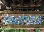 Germany-Frankfurt/Main - June 16, 2018 -- Graffito on a retaining wall of a bridge over river Main, near premises of ECB - European Central Bank / Eurosystem, East End (Ostend) -- Photo © HorstWagner.eu