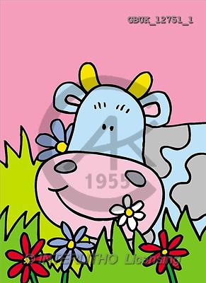 Stephen, CUTE ANIMALS, paintings, cow, flowers(GBUK12751/1,#AC#) illustrations, pinturas ,everyday