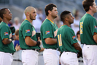 Team South Africa during the national anthem at Roger Dean Stadium on September 19, 2012 in Jupiter, Florida. Team Israel defeated Team South Africa 7-3.  (Stacy Jo Grant/Four Seam Images).