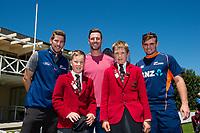 Huntley MVP with Black Caps Matt Henry, George Worker and Tom Latham  at the Bert Sutcliffe Oval, Lincoln University, Christchurch, New Zealand. Wednesday 22 November 2017. Photo: John Davidson/www.bwmedia.co.nz