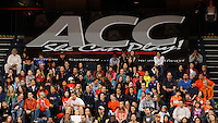 Virginia Cavaliers fans sit below an ACC banner as Virginia hosted the game against  FSU Jan. 12, 2012 in Charlottesville, Va.  Virginia defeated Florida State 62-52.