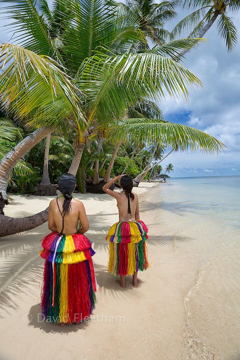 These two young girls (MR) are in traditional outfits for cultural cerimonies on the island of Yap, Micronesia.