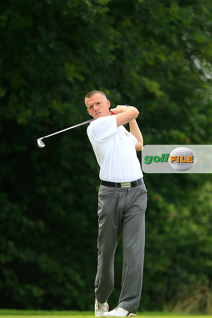 Brian Slattery (Ballybunion) on the 10th tee during the Final round of the Munster section of the AIG Pierce Purcell Shield at East Clare Golf Club on Sunday 19th July 2015.<br /> Picture:  Golffile | Thos Caffrey