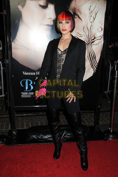 """KRISTINA ALLISON.""""Beastly"""" Los Angeles Premiere held at Pacific Theatres at The Grove, Hollywood, California, USA..February 24th, 2011.full length black jacket blazer trousers tucked into boots pink clutch bag hair dyed red.CAP/ADM/BP.©Byron Purvis/AdMedia/Capital Pictures."""