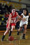 Palos Verdes, CA January 19, 2010 - Kelsey Brockway (23) of Palos Verdes and Megan Nagasaki (14) in action during the Palos Verdes vs Peninsula Panthers basketball game at Peninsula High School.