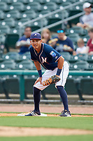 Northwest Arkansas Naturals first baseman Mauricio Ramos (3) during a game against the Midland RockHounds on May 27, 2017 at Arvest Ballpark in Springdale, Arkansas.  NW Arkansas defeated Midland 3-2.  (Mike Janes/Four Seam Images)