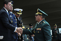 "BOGOTÁ -COLOMBIA, 17-08-2013. Aspecto de la ceremonia  de transmisión de mando de las Fuerzas Militares de Colombia en el campo de paradas de la  Escuela Militar de Cadetes ""General José María Córdova"" en Bogotá./ Aspect of the ceremony of the transfer of command of the military forces of Colombia at the stops field in the  ""General José María Córdova"" Cadet Military School in Bogota. Photo: VizzorImage/ Mauricio Orjuela/ Mindefensa / HANDOUT PICTURE; THIS PICTURE IS DISTRIBUITED AS A SERVICE TO  SUBSCRIBERS/ MANDATORY USE EDITORIAL ONLY/"