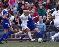 Boston College midfielder Kate McCarthy (21) and Hofstra University forward Kayla Pifer (13) battle for the ball. Boston College defeated Hofstra University, 3-1, in second round NCAA tournament match at Newton Soccer Field, Newton, MA.