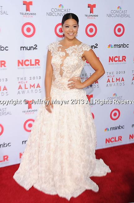 PASADENA, CA- SEPTEMBER 27: Actress Gina Rodriguez arrives at the 2013 NCLA ALMA Awards at Pasadena Civic Auditorium on September 27, 2013 in Pasadena, California.