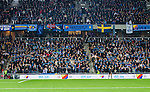 Stockholm 2013-10-27 Fotboll Allsvenskan Djurg&aring;rdens IF - Gefle IF :  <br /> Djurg&aring;rden supportrar p&aring; l&auml;ktare i Tele2 Arena<br /> (Foto: Kenta J&ouml;nsson) Nyckelord:  supporter fans publik supporters