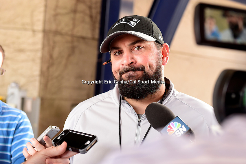 Wednesday, July 27, 2016: New England Patriots defensive coordinator Matt Patricia talks to media at a press conference at the New England Patriots training camp held Gillette Stadium in Foxborough Massachusetts. Eric Canha/CSM