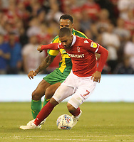 Nottingham Forest's Lewis Grabban battles with  West Bromwich Albion's Kyle Bartley<br /> <br /> Photographer Mick Walker/CameraSport<br /> <br /> The EFL Sky Bet Championship - Nottingham Forest v West Bromwich Albion - Tuesday August 7th 2018 - The City Ground - Nottingham<br /> <br /> World Copyright &copy; 2018 CameraSport. All rights reserved. 43 Linden Ave. Countesthorpe. Leicester. England. LE8 5PG - Tel: +44 (0) 116 277 4147 - admin@camerasport.com - www.camerasport.com