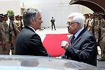 Palestinian President Mahmoud Abbas during a meeting with Austrian Chancellor, Werner Faymann in the West Bank city of Ramallah on June 24, 2010. Photo by Thaer Ganaim