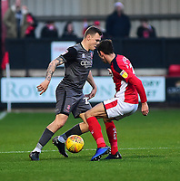 Lincoln City's Harry Anderson vies for possession with  Crewe Alexandra's Harry Pickering<br /> <br /> Photographer Andrew Vaughan/CameraSport<br /> <br /> The EFL Sky Bet League Two - Crewe Alexandra v Lincoln City - Wednesday 26th December 2018 - Alexandra Stadium - Crewe<br /> <br /> World Copyright &copy; 2018 CameraSport. All rights reserved. 43 Linden Ave. Countesthorpe. Leicester. England. LE8 5PG - Tel: +44 (0) 116 277 4147 - admin@camerasport.com - www.camerasport.com