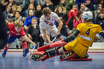 Mannheim, Germany, January 08: During the 1. Bundesliga men indoor hockey match between TSV Mannheim and Mannheimer HC on January 8, 2020 at Primus-Valor Arena in Mannheim, Germany. Final score 5-4. (Photo by Dirk Markgraf / www.265-images.com) *** Linus Mueller #10 of Mannheimer HC, Nicolas Proske #9 of TSV Mannheim