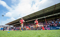 Picture by Allan McKenzie/SWpix.com - 22/04/2018 - Rugby League - Ladbrokes Challenge Cup - York City Knight v Catalans Dragons - Bootham Crescent, York, England - Catalan Dragons come out to warm up at York's Bootham Crescent.