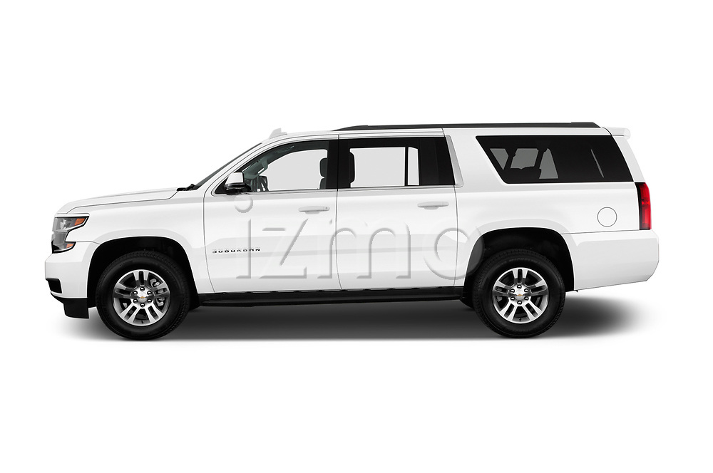Car Driver side profile view of a 2018 Chevrolet Suburban LS 5 Door SUV Side View