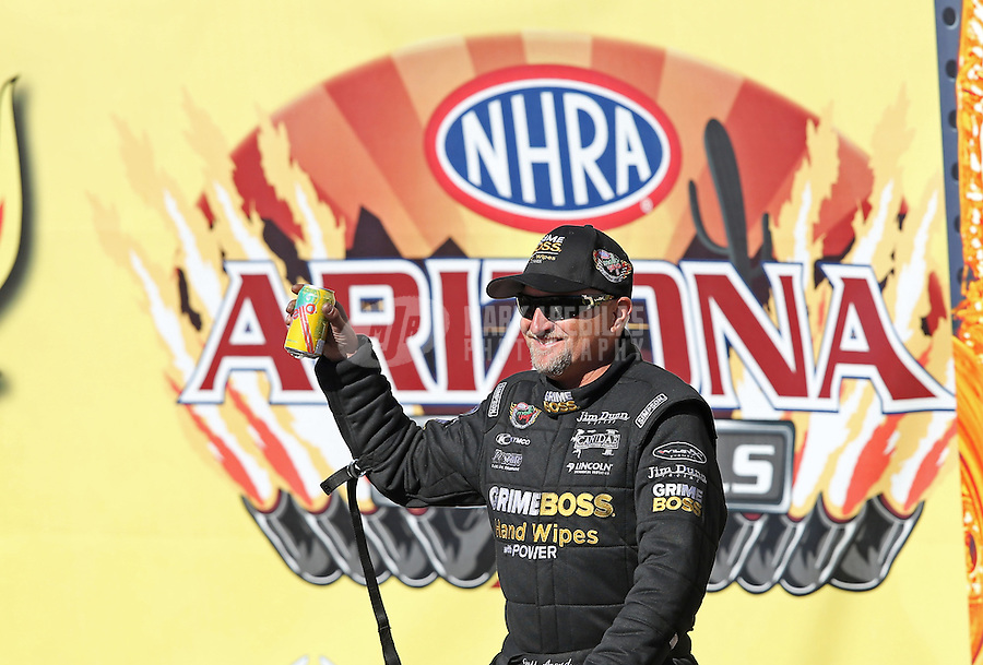 Feb. 24, 2013; Chandler, AZ, USA; NHRA funny car driver Jeff Arend during the Arizona Nationals at Firebird International Raceway. Mandatory Credit: Mark J. Rebilas-