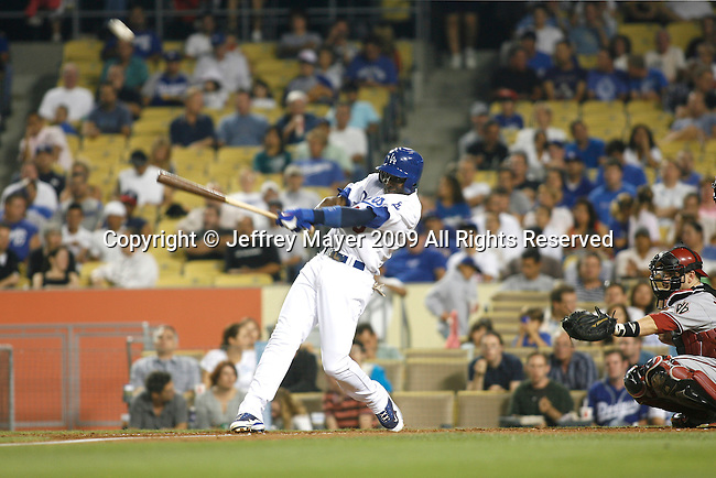 LOS ANGELES, CA. - September 02: Orlando Hudson of the Los Angeles Dodgers  batting during the game Dodgers vs. the Arizona Diamondbacks at Dodger Stadium in Los Angeles, California on September 2, 2009.