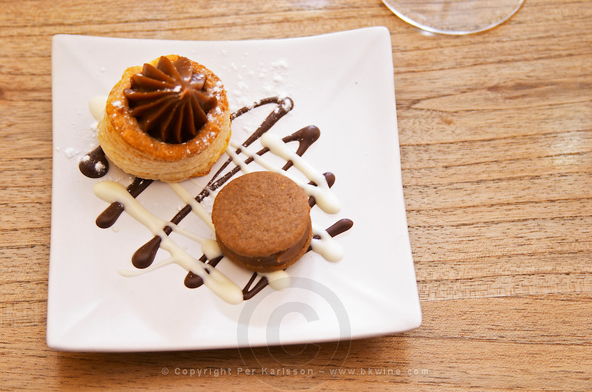 Little cakes for coffee with chocolate and vanilla Bodega Del Anelo Winery, also called Finca Roja, Anelo Region, Neuquen, Patagonia, Argentina, South America