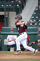 Luke Alexander (6) of the Mississippi State Bulldogs bats against the Southern California Trojans at Dedeaux Field on March 5, 2016 in Los Angeles, California. Mississippi State defeated Southern California , 8-7. (Larry Goren/Four Seam Images)