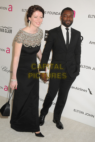 Jessica & David Oyelowo.21st Annual Elton John Academy Awards Viewing Party held at West Hollywood Park, West Hollywood, California, USA..February 24th, 2013.oscars full length dress silver beads beaded married husband wife tie white suit black beard facial hair.CAP/ADM/BP.©Byron Purvis/AdMedia/Capital Pictures.