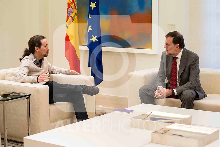 Secretary General for the Partido Popular received in the Moncloa to the secretary general of Podemos, Pablo Iglesias in Madrid, December 28 2015. <br /> (ALTERPHOTOS/BorjaB.Hojas)