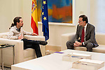 Secretary General for the Partido Popular received in the Moncloa to the secretary general of Podemos, Pablo Iglesias in Madrid, December 28 2015. <br /> (ALTERPHOTOS/BorjaB.Hojas)