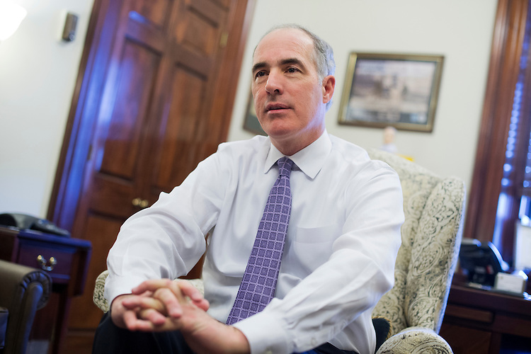UNITED STATES - APRIL 12: Sen. Bob Casey, D-Pa., is interviewed by CQ Roll Call in his Russell Building office, April 12, 2016. (Photo By Tom Williams/CQ Roll Call)