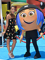 Chandler Kinney &amp; Emoji character at the world premiere for &quot;The Emoji Movie&quot; at the Regency Village Theatre, Westwood. Los Angeles, USA 23 July  2017<br /> Picture: Paul Smith/Featureflash/SilverHub 0208 004 5359 sales@silverhubmedia.com