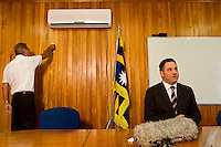 Interview by Nauru TV of the Honorary Richard Marles, Parliamentary Secretary for Pacific Island affairs..At the Government house, with the President office, in Yaren District...Nauru, officially the Republic of Nauru is an island nation in Micronesia in the South Pacific.  Nauru was declared independent in 1968 and it is the world's smallest independent republic, covering just 21 square kilometers..Nauru is a phosphate rock island and its economy depends almost entirely on the phosphate deposits that originate from the droppings of sea birds. Following its exploitation it briefly boasted the highest per-capita income enjoyed by any sovereign state in the world during the late 1960s and early 1970s..In the 1990s, when the phosphate reserves were partly exhausted the government resorted to unusual measures. Nauru briefly became a tax haven and illegal money laundering centre. From 2001 to 2008, it accepted aid from the Australian government in exchange for housing a Nauru detention centre, with refugees from various countries including Afghanistan and Iraq..Most necessities are imported on the island..Nauru has parliamentary system of government. It had 17 changes of administration between 1989 and 2003. In December 2007, former weight lifting medallist Marcus Stephen became the President.