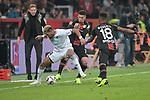 03.11.2018, BayArena, Leverkusen, GER, 1. FBL,  Bayer 04 Leverkusen vs. TSV 1899 Hoffenheim,<br />  <br /> DFL regulations prohibit any use of photographs as image sequences and/or quasi-video<br /> <br /> im Bild / picture shows: <br /> Joelinton (Hoffenheim #34),  gegen Paulinho (Leverkusen #7), Wendell (Leverkusen #18),  hinten regt sich Julian Nagelsmann Cheftrainer (Hoffenheim), auf <br /> Foto &copy; nordphoto / Meuter