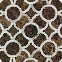 Montgomery Small, a stone water jet mosaic, shown in Calacatta Tia and Emperador Dark, is part of the Ann Sacks Beau Monde collection sold exclusively at www.annsacks.com