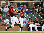 Arizona Diamondbacks' Kristopher Negron bats against the Chicago Cubs in a spring training game in Scottsdale, Ariz., on Thursday, March 23, 2017.<br /> Photo by Cathleen Allison/Nevada Photo Source