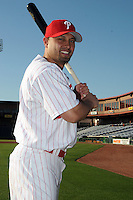 Feb 20, 2009; Clearwater, FL, USA; The Philadelphia Phillies outfielder Shane Victorino (8) during photoday at Bright House Field. Mandatory Credit: Tomasso De Rosa/ Four Seam Images