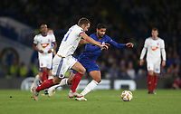 Chelsea's Ruben Loftus-Cheek and MOL Vidi's Roland Juhasz<br /> <br /> Photographer Rob Newell/CameraSport<br /> <br /> UEFA Europa League - Group L - Chelsea v MOL Vidi - Thursday 4th October 2018 - Stamford Bridge - London<br />  <br /> World Copyright © 2018 CameraSport. All rights reserved. 43 Linden Ave. Countesthorpe. Leicester. England. LE8 5PG - Tel: +44 (0) 116 277 4147 - admin@camerasport.com - www.camerasport.com