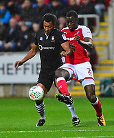 Lincoln City's Matt Green vies for possession with Rotherham United&rsquo;s Josh Emmanuel<br /> <br /> Photographer Andrew Vaughan/CameraSport<br /> <br /> The Carabao Cup First Round - Rotherham United v Lincoln City - Tuesday 8th August 2017 - New York Stadium - Rotherham<br />  <br /> World Copyright &copy; 2017 CameraSport. All rights reserved. 43 Linden Ave. Countesthorpe. Leicester. England. LE8 5PG - Tel: +44 (0) 116 277 4147 - admin@camerasport.com - www.camerasport.com
