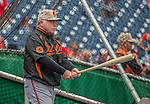 27 May 2013: Baltimore Orioles Manager Buck Showalter holds a bat outside the batting cage prior to a game against the Washington Nationals at Nationals Park in Washington, DC. The Orioles defeated the Nationals 6-2, taking the Memorial Day, first game of their interleague series. Mandatory Credit: Ed Wolfstein Photo *** RAW (NEF) Image File Available ***