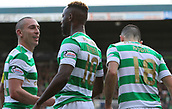 4th November 2017, McDiarmid Park, Perth, Scotland; Scottish Premiership football, St Johnstone versus Celtic; Scott Brown celebrates with Moussa Dembele after his deflected shot makes it 3-0