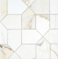 Maxfield, a stone waterjet mosaic, show in polished Calacatta Gold, is part of the Semplice™ collection for New Ravenna.