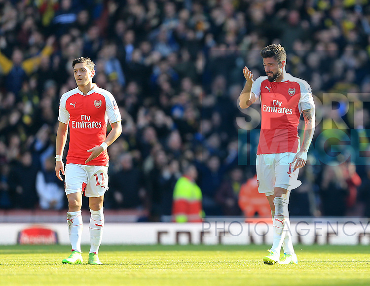 Arsenal's Olivier Giroud looks on dejected after going 1-0 down during the Emirates FA Cup match at The Emirates Stadium.  Photo credit should read: David Klein/Sportimage