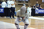 12 February 2017: UNC's Jackie Litynski during Saber. The Duke University Blue Devils hosted the University of North Carolina Tar Heels at Card Gym in Durham, North Carolina in a 2017 College Women's Fencing match. Duke won the dual match 14-13 overall and 7-2 in Epee. UNC won Foil 6-3 and Saber 5-4.