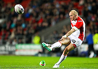 Picture by Alex Whitehead/SWpix.com - 01/05/2014 - Rugby League - First Utility Super League - St Helens v London Broncos - Langtree Park, St Helens, England - St Helens' Luke Walsh kicks for goal.