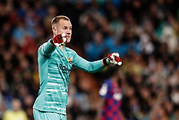 1st March 2020; Estadio Santiago Bernabeu, Madrid, Spain; La Liga Football, Real Madrid versus Club de Futbol Barcelona; Goalie Marc-Andre ter Stegen (FC Barcelona) points the direction to his defense