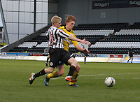 Jack Smith outmuscled by Tyler Fulton in the St Mirren v Falkirk Clydesdale Bank Scottish Premier League Under 20 match played at St Mirren Park, Paisley on 30.4.13.