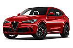 Stock pictures of low aggressive front three quarter view of 2019 Alfaromeo Stelvio-Quadrifoglio - 5 Door SUV Low Aggressive