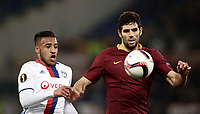 Football Soccer: Europa League Round of 16 second leg, Roma-Lyon, stadio Olimpico, Roma, Italy, March 16,  2017. <br /> Roma's Federico Fazio (r) in action with Lyon's Corentin Tolisso (l) during the Europe League football soccer match between Roma and Lyon at the Olympique stadium, March 16,  2017. <br /> Despite losing 2-1, Lyon reach the quarter finals for 5-4 aggregate win.<br /> UPDATE IMAGES PRESS/Isabella Bonotto