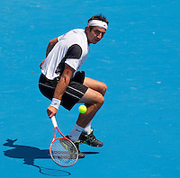 MARKO MATOSEVIC (AUS) against GAEL MONFILS (FRA) in the first round of the Men's Singles. Gael Monfils beat Marko Matosevic  7-6 6-3 6-3 ..17/01/2012, 17th January 2012, 17.01.2012..The Australian Open, Melbourne Park, Melbourne,Victoria, Australia.@AMN IMAGES, Frey, Advantage Media Network, 30, Cleveland Street, London, W1T 4JD .Tel - +44 208 947 0100..email - mfrey@advantagemedianet.com..www.amnimages.photoshelter.com.