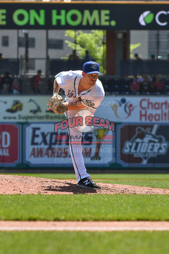 Jack Wynkoop (23) of the Hartford Yard Goats follows through on a pitch during a game against the Binghamton Rumble Ponies at Dunkin Donuts Park on May 9, 2018 in Hartford, Connecticut. (Gregory Vasil/Four Seam Images)
